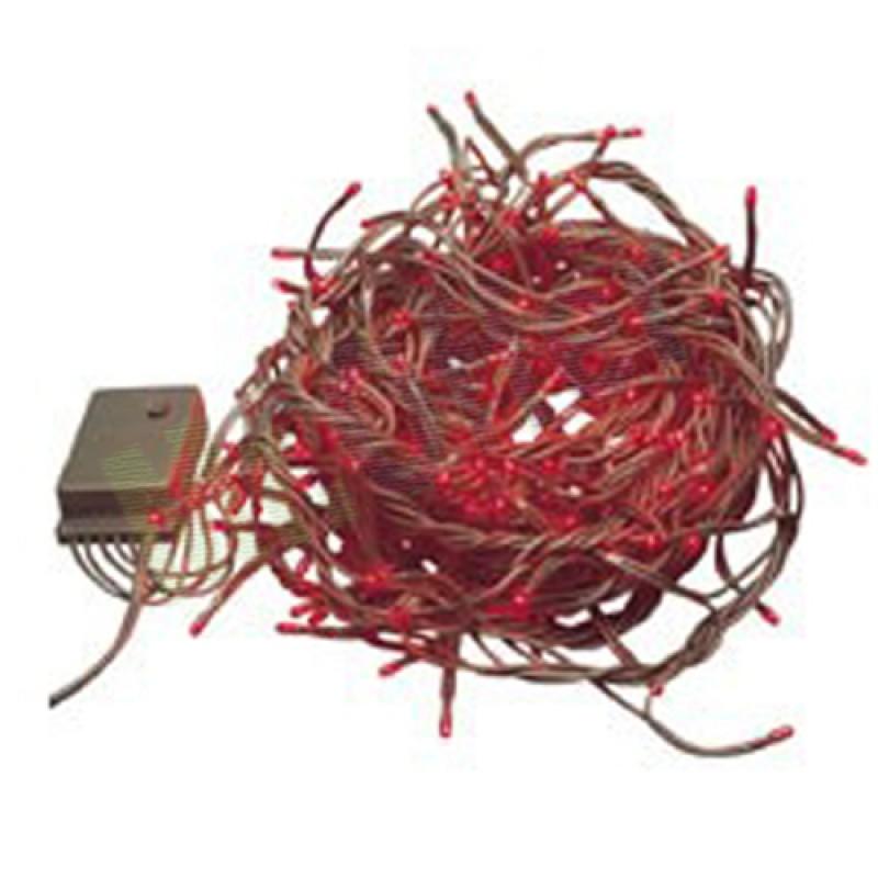Serie lampadine natale 4,5 mt luce rossa addobbi natalizi 100 mini luci caten...