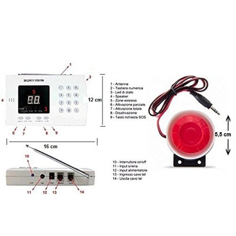 Kit antifurto casa wireless allarme casa senza fili con combinatore telefonico  eBay