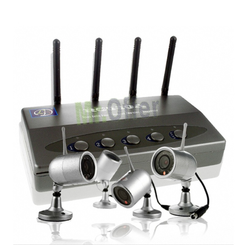 Kit Videosorveglianza wireless con 4 telecamere senza fili ricevitore usb 12 led  eBay