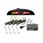 Sensori di parcheggio auto di colore bianco da 4 con display led e segnale acustico tinta verniciabile