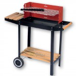 Barbecue a carbone senza fumo con ruote e griglia regolabile in altezza, barbecue a carbonella per grigliate in giardino