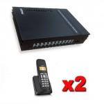 Kit Centralino telefonico analogico PABX 3 linee esterne e 8 interni completo di 2 telefoni cordless Gigaset con display