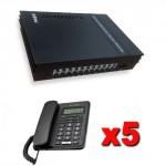 Kit Centralino telefonico con 5 telefoni Alcatel, gestisce 3 linee esterne e 8 interni. Telefono con display per ufficio