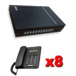 Kit Centralino telefonico da ufficio 3 linee esterne e 8 linee interne completo di 8 telefono Alcatel con display