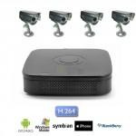 Kit Videosorveglianza 4 canali con DVR e 4 telecamere Sony CCD Notte e Giorno 48 led 600 TVL