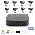 Kit Videosorveglianza 8 canali con DVR e 8 telecamere Sony CCD night and day 48 led 600 TVL
