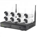 kit videosorveglianza wireless Ip 8 canali. DVR  HD 1TB con 8 telecamere senza fili wifi da esterno 3 Maxi LED array