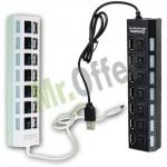 Multipresa USB alimentata 7 porte, prolunga usb nera o bianca