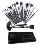 Kit di 24 pennelli trucco make up per estetiste e truccatori, pochette portapennelli professionale