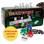 Set poker professionale 200 fiches, il kit comprende 200 chip poker e 2 mazzi di carte da gioco