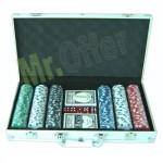 Set da poker professionale 300 fiches, il kit comprende una valigetta in alluminio e 2 mazzi di carte da gioco