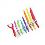Set di coltelli 9 pezzi da cucina colorati con lama extra tagliente. kit coltelli cuoco da tavola con manici colorati