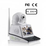 Kit videosorveglianza IP con registrazione su micro sd, allarme wireless completo di DVR, telecamera IP e monitor 3,6 pollici a colori.