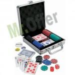 Set da poker professionale 100 fiches, il kit comprende una valigetta in alluminio e 2 mazzi di carte da gioco
