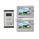 """kit videocitofono bifamiliare a colori con interfono, videocitofoni con 2 monitor TFT da 7"""" e telecamera CMOS con 6 led"""