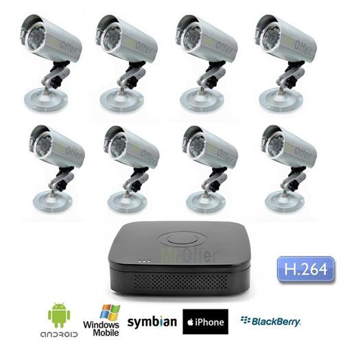 kit videosorveglianza 8 canali con dvr hd 1tb con 8 telecamere sony ccd 36 led 600 tvl